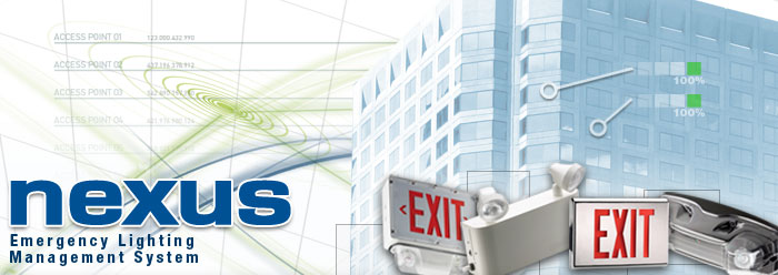 Nexus System - Emergency Lighting Exit Sign and Battery Unit Monitoring and Testing System.